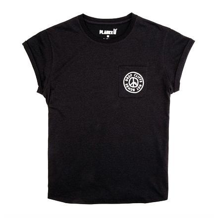 Tričko PLANKS Peace Relaxed Pocket T-shirt black 19/20 Velikost: M