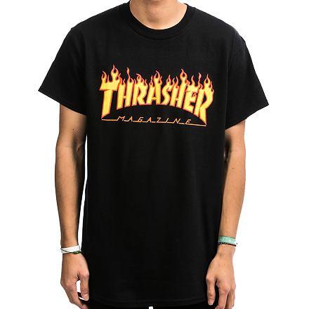 Tričko THRASHER Flame Logo black Velikost: XL